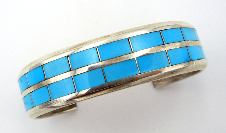 Navajo Turquoise and Sterling Silver Double Channel Inlay Cuff Bracelet