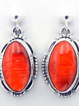 Navajo Orange Spiny Oyster Shell and Sterling Silver Earrings