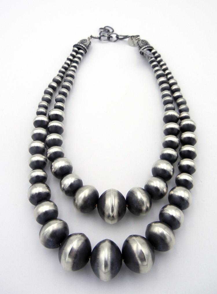 Navajo Rose Martin Double Strand 16″ Brushed Sterling Silver Navajo Pearls