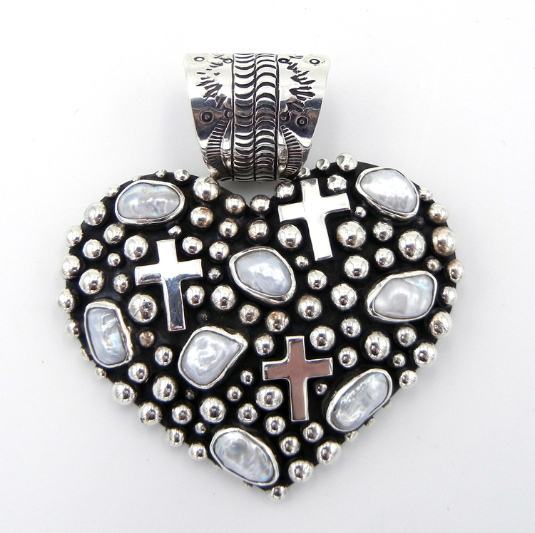 Navajo Million Dollar Drop Collection Sterling Silver and Pearl Heart Pendant