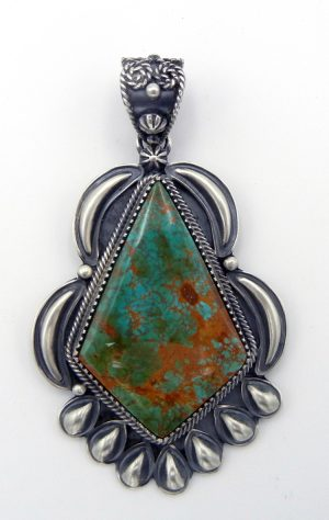 Navajo large kingman turquoise and sterling silver pendant