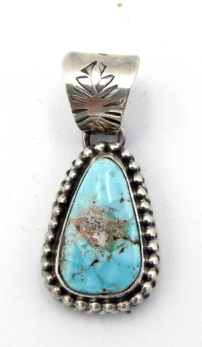 Navajo small dry creek turquoise and sterling silver pendant