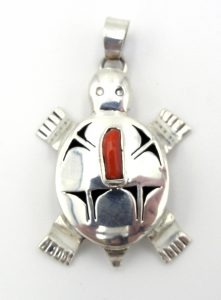 Navajo coral and sterling silver shadowbox turtle pendant by Bennie Ration