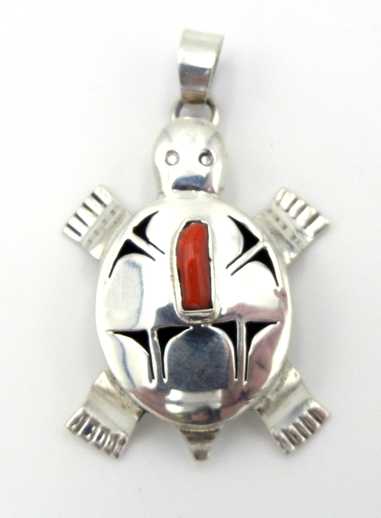 Navajo Bennie Ration Sterling Silver and Coral Shadowbox Turtle Pendant