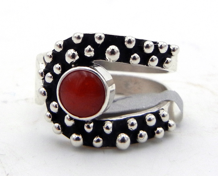 Navajo Raymond Coriz Coral and Sterling Silver Million Dollar Drop Collection Ring