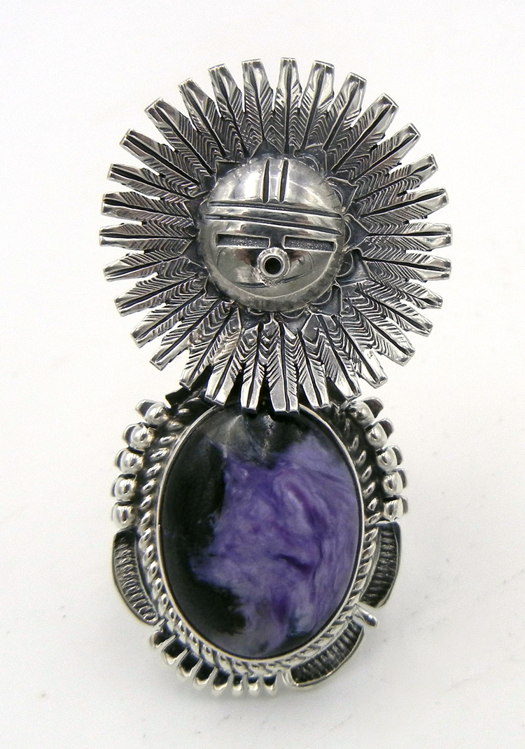 Navajo Bennie Ration Charoite and Sterling Silver Sunface Ring