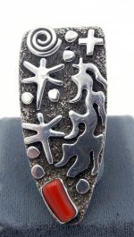 Navajo sterling silver and coral petroglyph style ring by Alex Sanchez