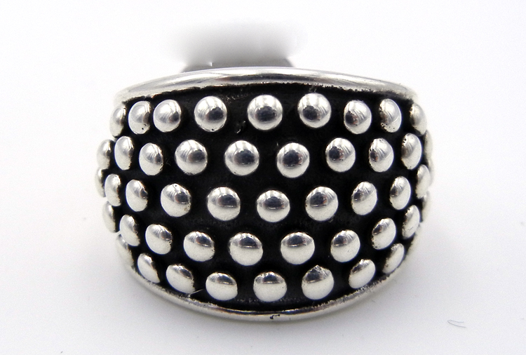 Navajo sterling silver million dollar drop collection ring featuring appliqued dots