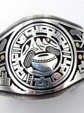 Santo Domingo Joseph Coriz Sterling Silver and 14k Gold Overlay Cuff Bracelet