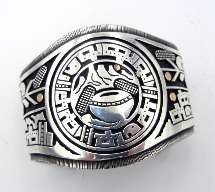 Santo Domingo Sterling Silver and 14 karat gold overlay cuff bracelet by Joseph Coriz