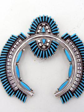 Zuni Edmund Cooeyate Turquoise Needlepoint and Sterling Silver Naja Pendant