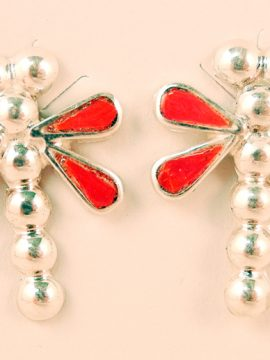 Zuni Coral Inlay and Sterling Silver Dragonfly Earrings