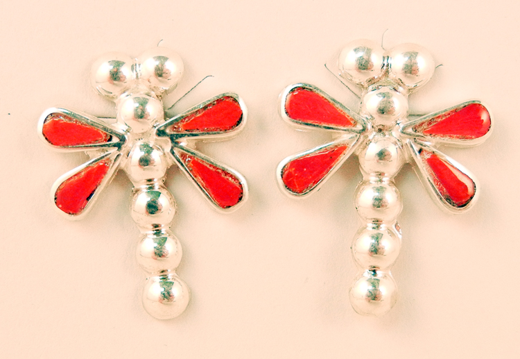 Zuni coral and sterling silver inlay dragonfly earrings