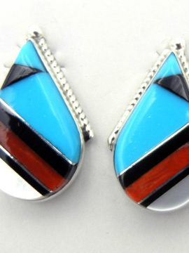 Zuni Multi-Stone Inlay and Sterling Silver Tear Drop Earrings