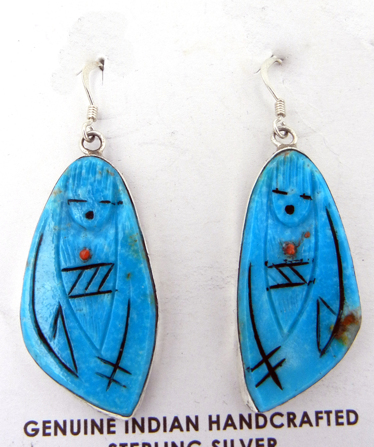 Zuni Valerie Comosona Carved Turquoise Maiden Earrings