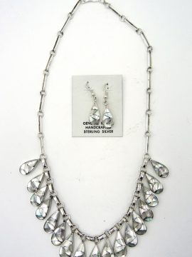 Zuni Orlinda Natewa Mother of Pearl and Sterling Silver Inlay Necklace and Earring Set