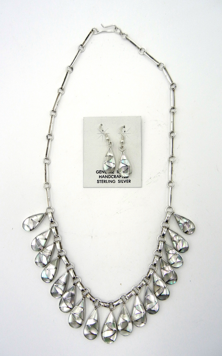 Zuni mother of pearl and sterling silver inlay necklace and earring set by Orlinda Natewa