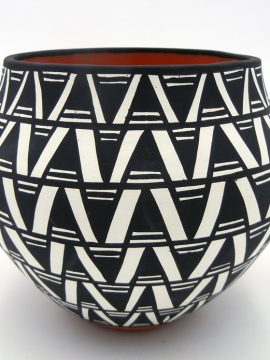 Acoma Mary Antonio Black and White Geometric Pattern Bowl