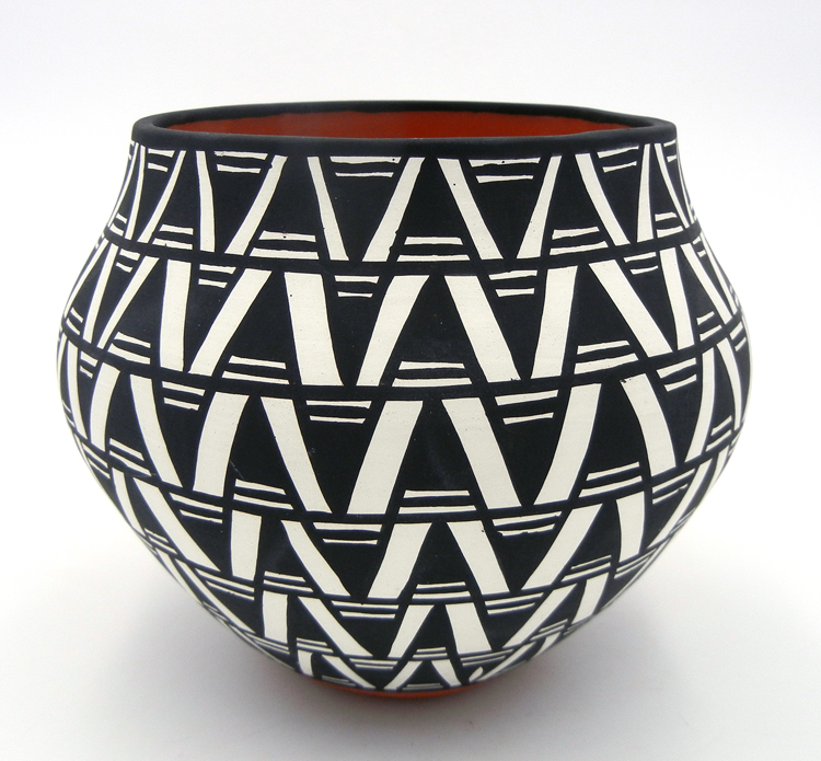 Acoma Mary Antonio Black and White Geometric Pattern Bowl