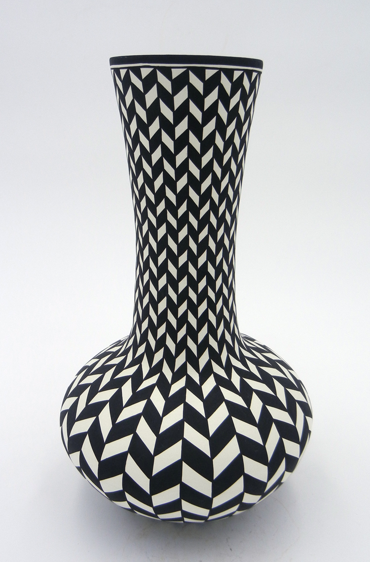 Acoma long neck black and white handmade and hand painted vase by Paula Estevan
