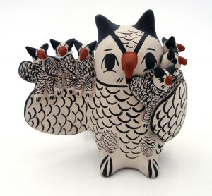 Cochiti Owl storyteller with six owlets by Mapuwana, Juanita Inez Ortiz