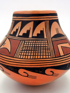 Hopi Ethel Youvella Polacca Traditional Handmade and Hand Painted Jar circa 1983
