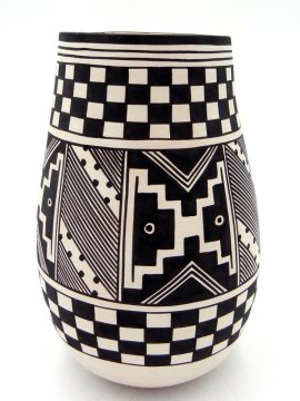 Laguna Myron Sarracino Handmade and Hand Painted Multi-Pattern Vase