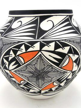 Acoma Beverly Garcia Polychrome Geometric Pattern and Fine Line Jar