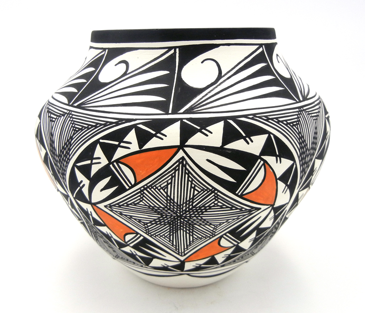 Acoma Beverly Garcia Polychrome Geometric Pattern and Fine Line Jar