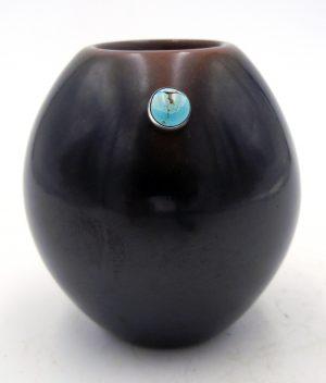 San Ildefonso small black polished jar with turquoise by Erik Fender