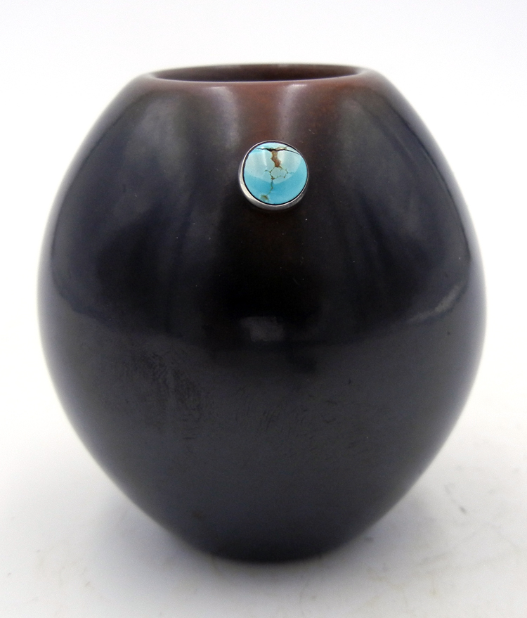 San Ildefonso small black polished jar with turquoise by Erik Fender