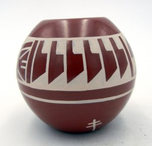 San Ildefonso red polished and painted small bowl by Erik Fender