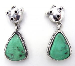 Navajo mudhead earrings in turquoise and sterling silver by Bennie Ration