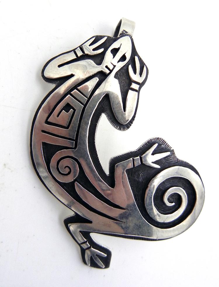 Hopi Sterling Silver Overlay Lizard Pendant