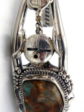 Navajo Bennie Ration Turquoise and Sterling Silver Maiden Cuff Bracelet