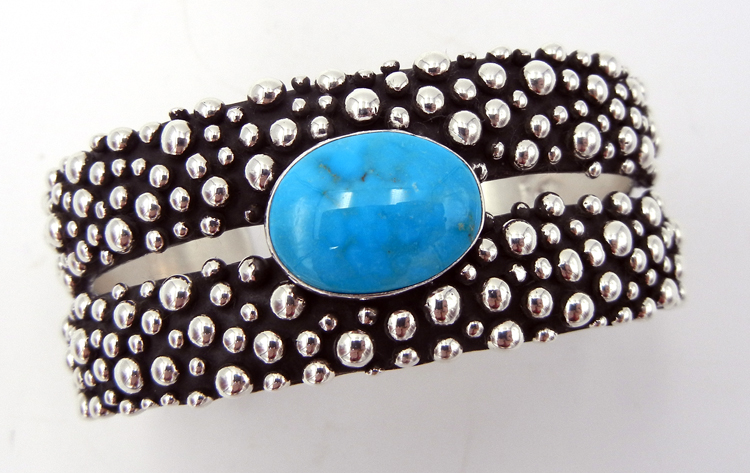 Navajo turquoise and appliqued sterling silver double band cuff bracelet by Raymond Coriz