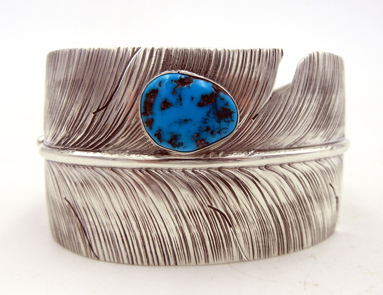 Navajo Ben Begay Wide Band Sterling Silver and Turquoise Feather Cuff Bracelet