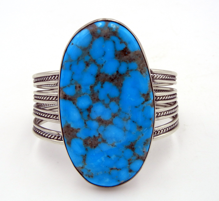 Navajo Large Kingman Turquoise and Sterling Silver Cuff Bracelet