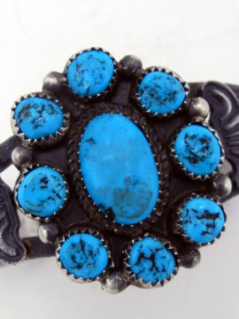 Navajo Linberg and Eva Billah Sandcast Sterling Silver and Turquoise Rosette Cuff Bracelet
