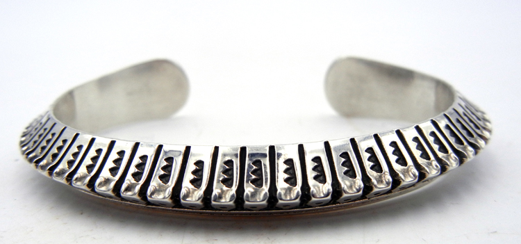Navajo Randy Secatero Hand Stamped Sterling Silver Triangle Cuff Bracelet
