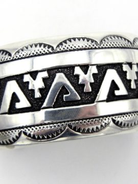 Navajo Rosita Singer Sterling Silver Overlay Cuff Bracelet