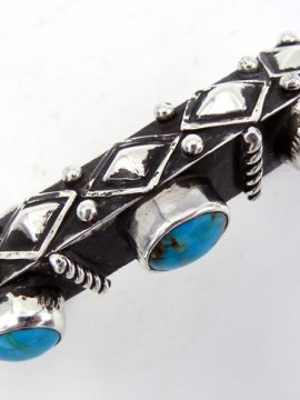 Navajo Ray Begay Heavy Gauge Turquoise and Sterling Silver Triangle Cuff Bracelet