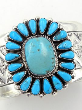 Navajo Sterling Silver and Kingman Turquoise Rosette Cuff Bracelet