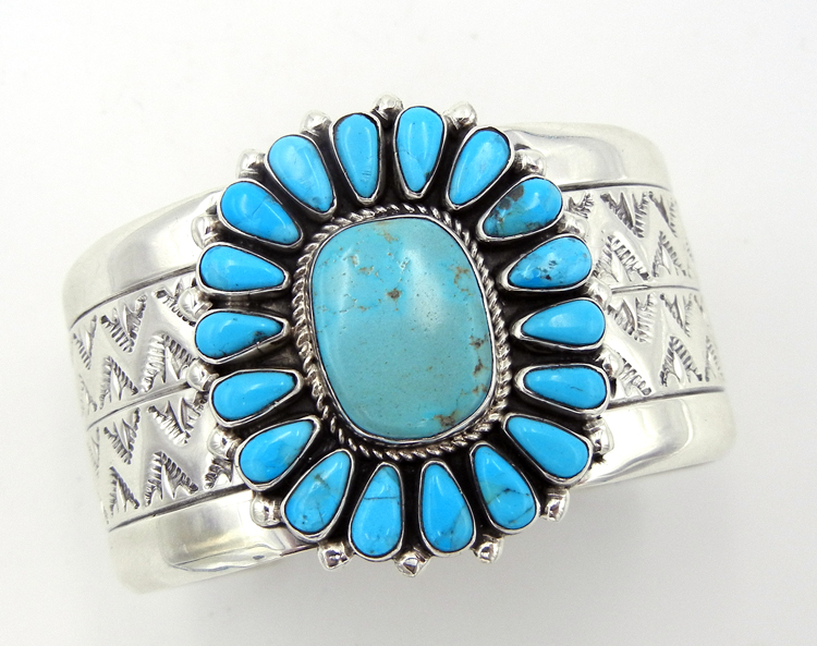 Navajo sterling silver wide band and Kingman turquoise rosette cuff bracelet