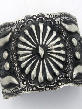 Navajo Vince Platero Hand Stamped Brushed Sterling Silver Cuff Bracelet