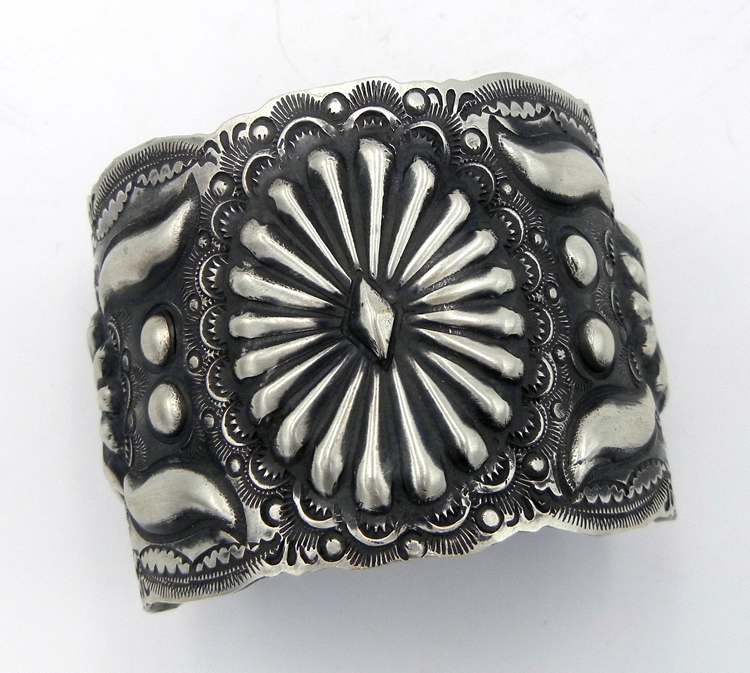 Navajo hand stamped brushed sterling silver cuff bracelet by Vince Platero