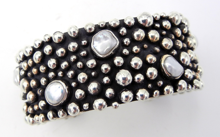Navajo pearl and sterling silver applique Million Dollar Drop Collection cuff bracelet