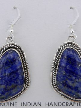 Navajo Denim Lapis and Sterling Silver Dangle Earrings