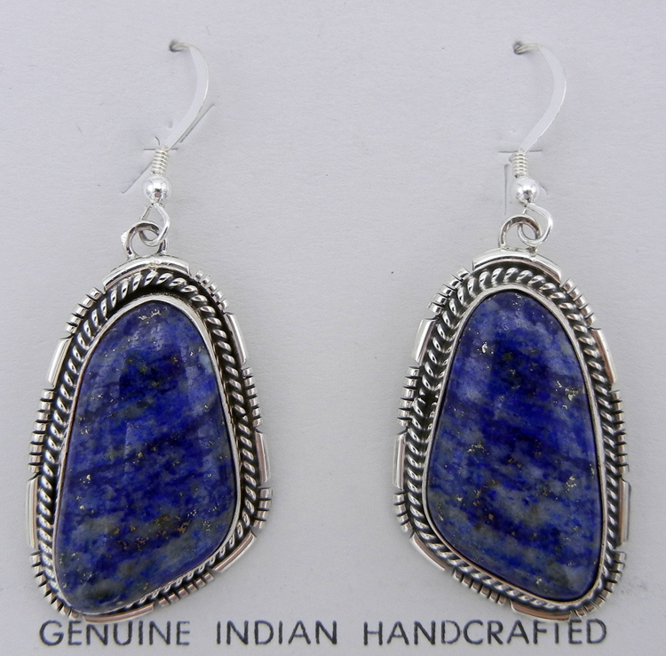 Navajo Denim Lapis and Sterling Silver Dangle Earrings