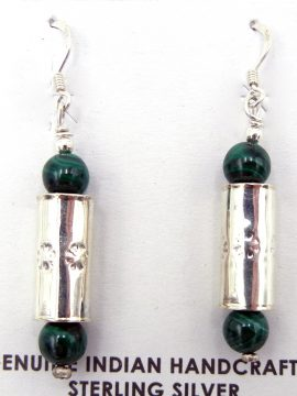 Navajo Malachite and Sterling Silver Cylinder Earrings